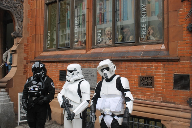 Stormtroopers paroling outside the Beaney
